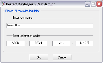 Perfect Keylogger's registration example