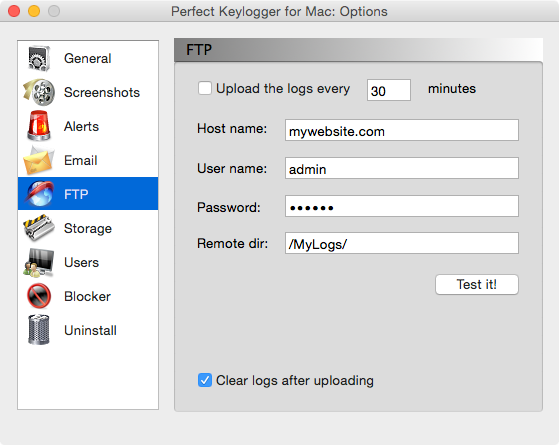 Stealth invisible Mac keylogger - Perfect Keylogger - FTP uploading options