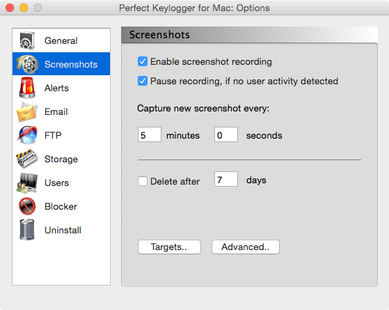 Keylogger for Mac - Perfect Key Logger - Screenshot recording options