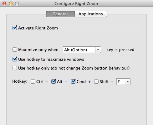Right Zoom for Mac home page - make your OS X Maximize Button work